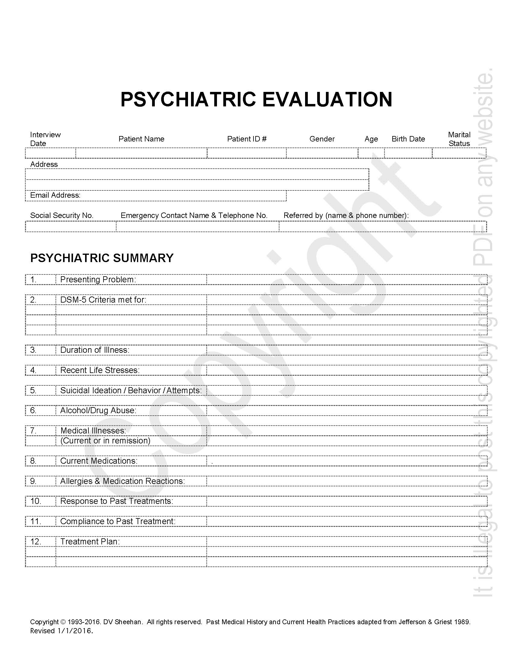 Psychiatric History Template – Harm Research