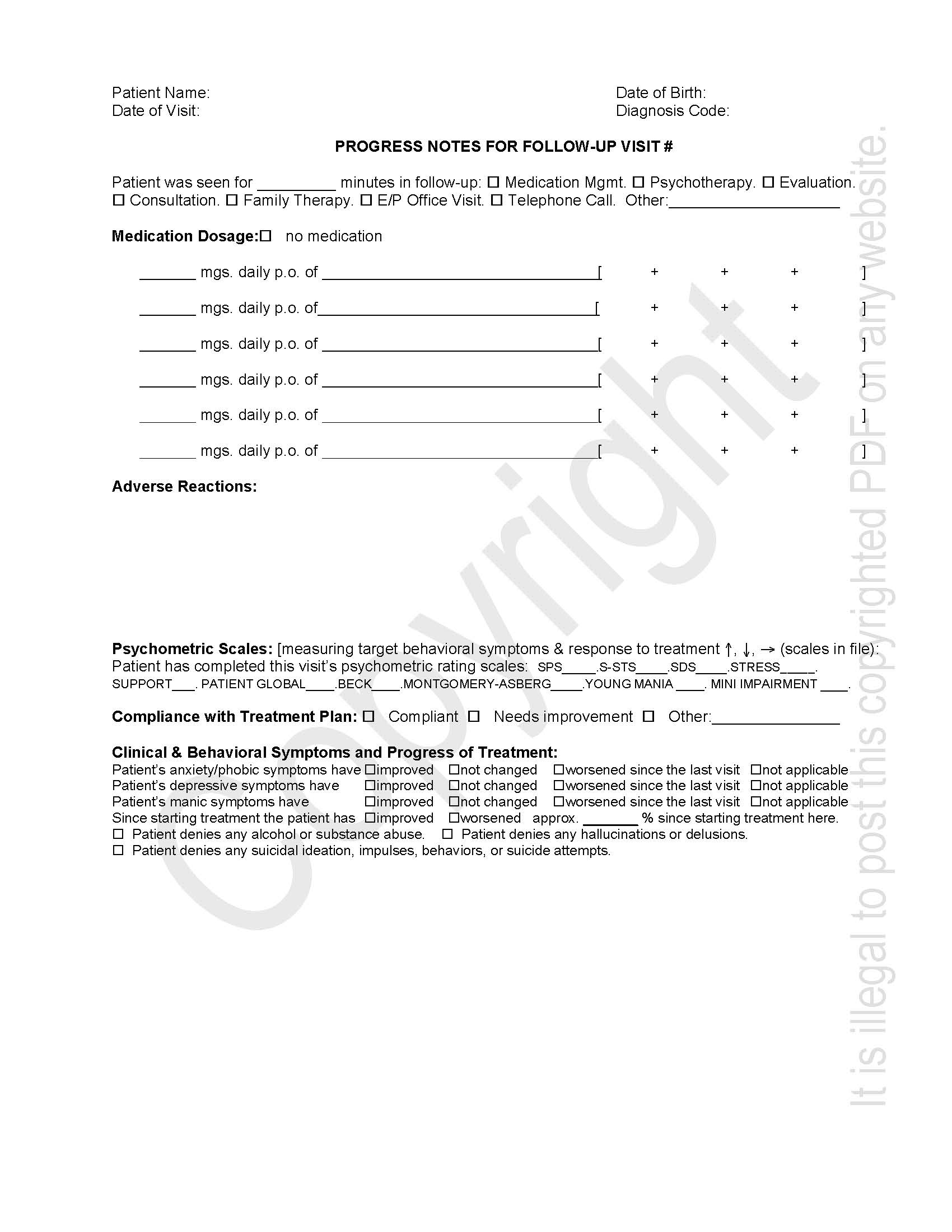 Psychiatric Progress Note Template. 8086990 lecture notes for ...